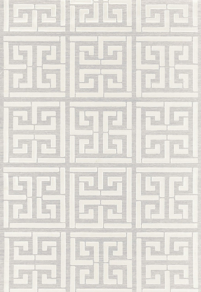 Schumacher Greek Key Sisal Wallpaper Silver (Priced and Sold by the Yard 32 Yard Minimum)