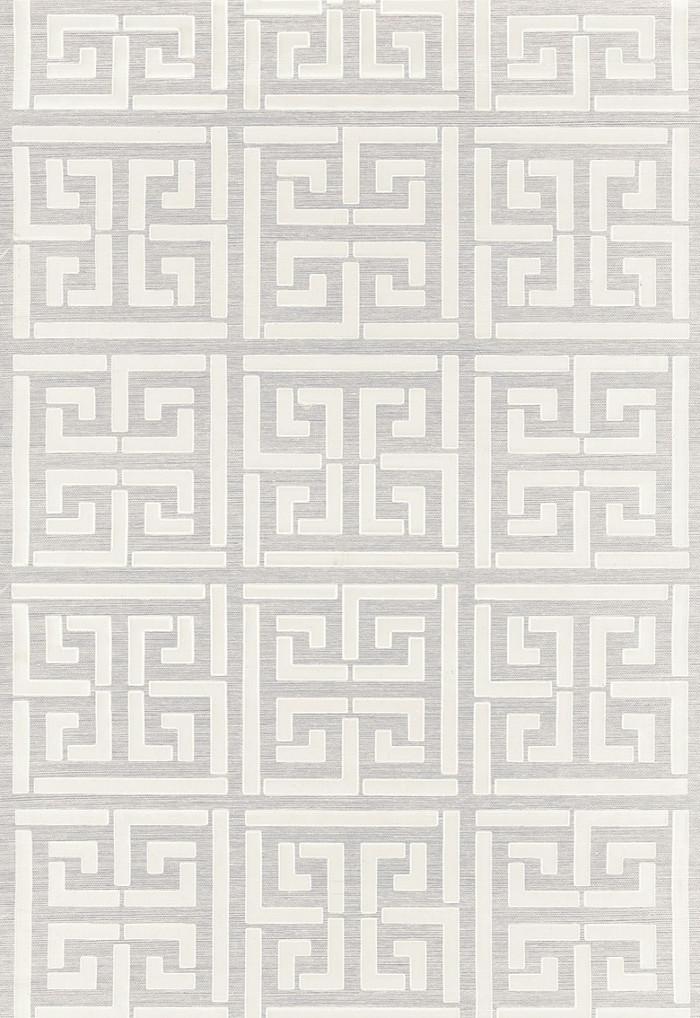 Schumacher Greek Key Sisal Wallpaper Silver (Priced and Sold by the Yard 32 Yard Minimum)