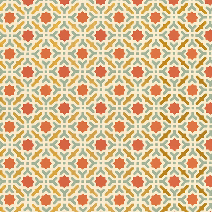 Schumacher Serallo Mosaic Wallpaper Persimmon 5005972