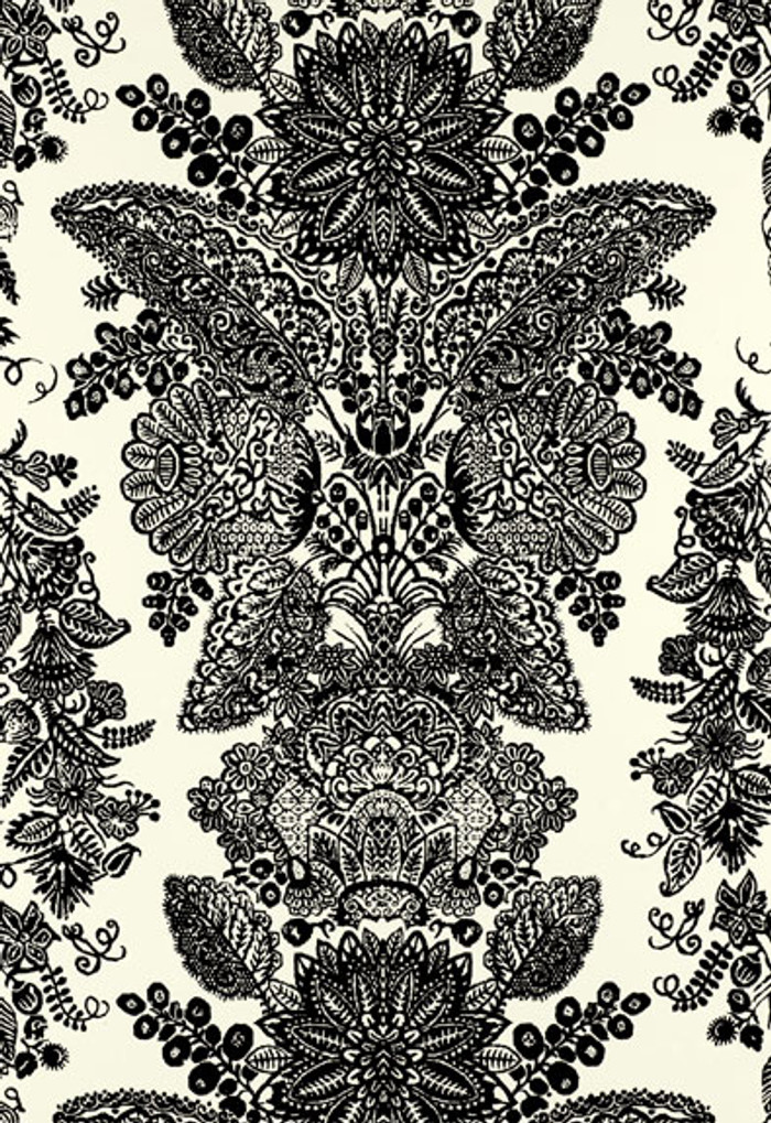 Schumacher Lace Wallpaper Black and Ivory 5003320
