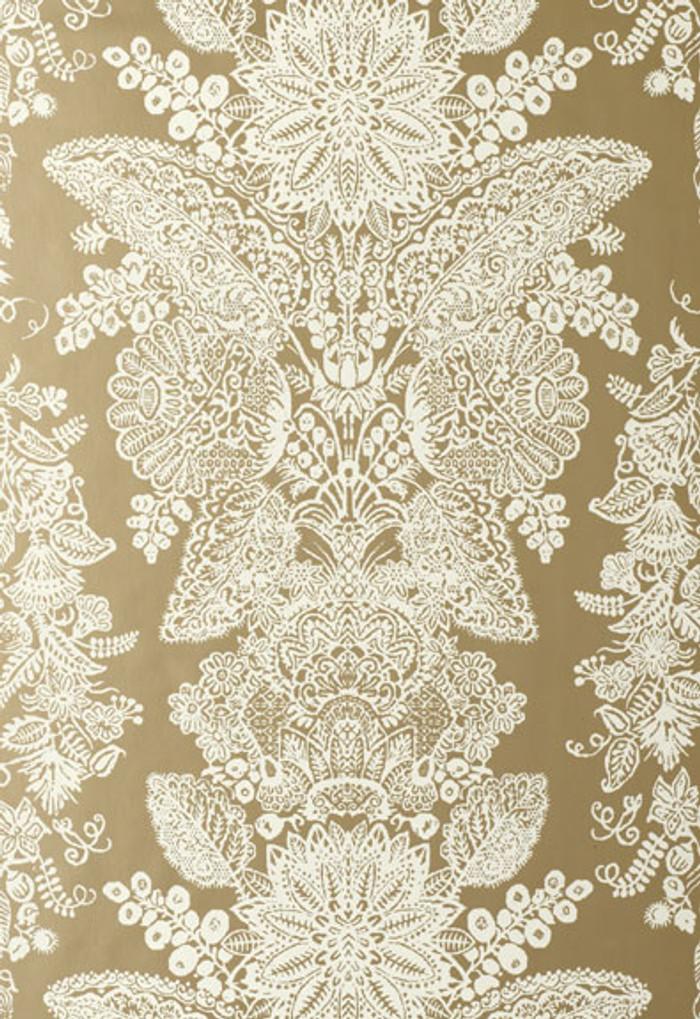 Schumacher Lace Wallpaper Champagne 5003321