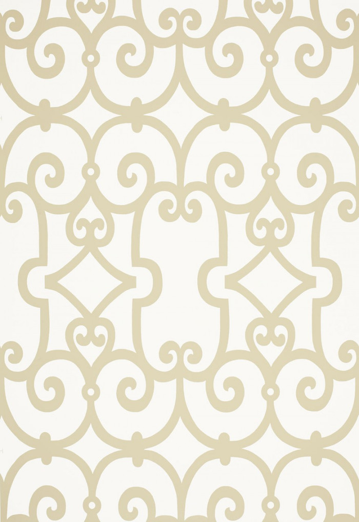 Schumacher Manor Gate Wallpaper Sand 5005052