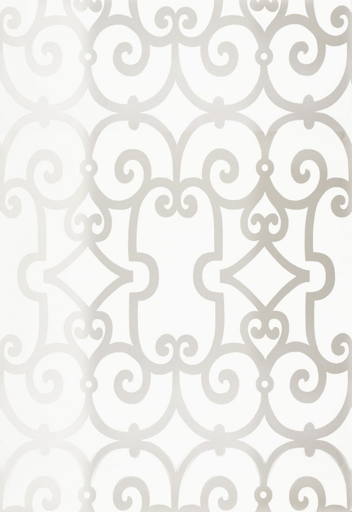 Schumacher Manor Gate Wallpaper Silver 5005040