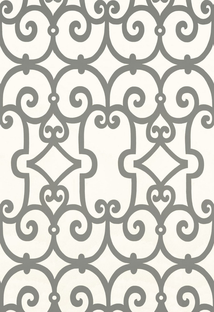 Schumacher Manor Gate Wallpaper Charcoal 5005053