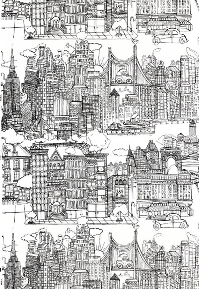 Schumacher New York,  New York Wallpaper Black on White 2705530