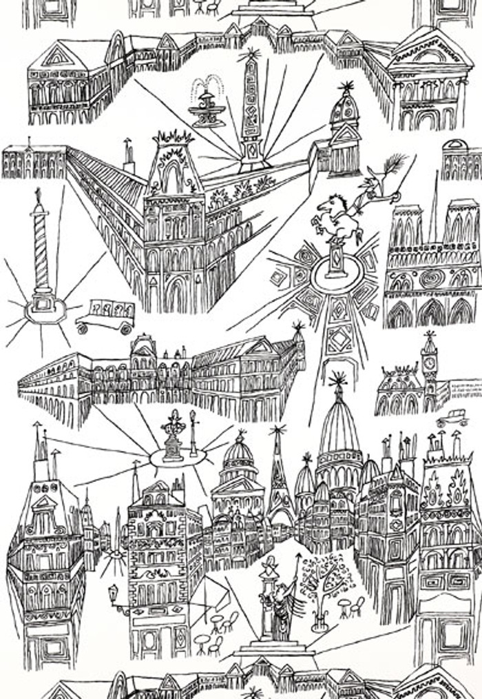 Schumacher Views of Paris Wallpaper Black on White 2705780