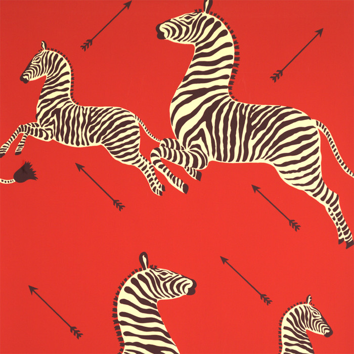 Scalamandre Zebras Wallpaper Masai Red