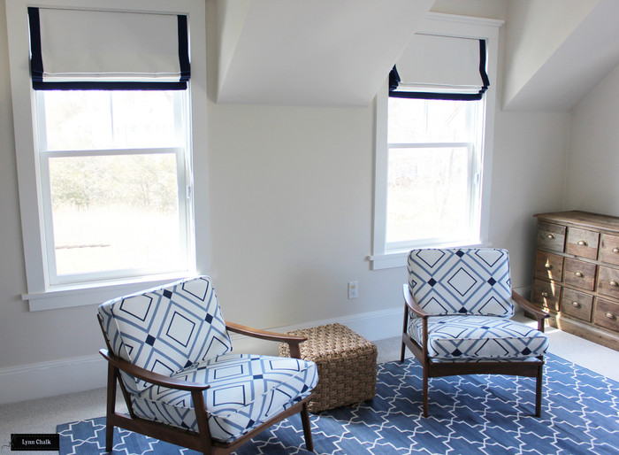 Chairs in Victoria Hagan Diamond Lights Denim/Indigo by Holland and Sherry.  Roman Shades in White and 2 inch Border in Indigo.