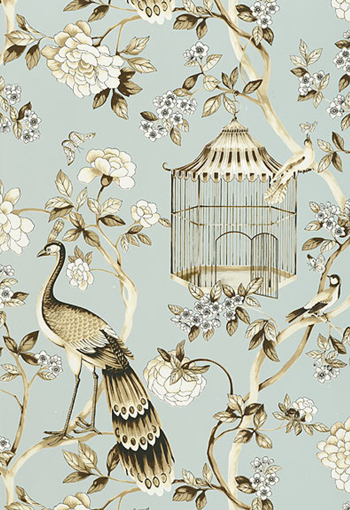 Schumacher Wallpaper Oiseaux et Fleurs Mineral 5004080