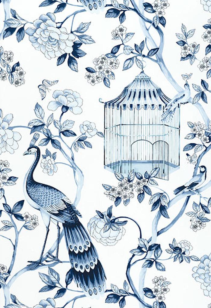 Schumacher Wallpaper Oiseaux et Fleurs Porcelain 5004081