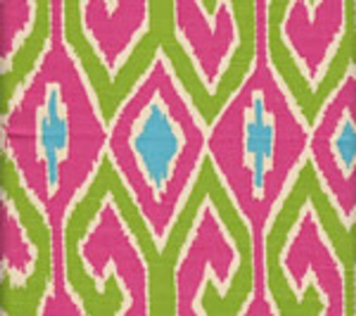 Quadrille Aquarius Jungle Green/Pink on Cream