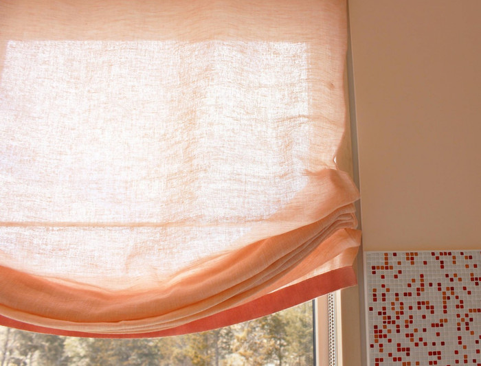 Custom Casual Roman Shades by Lynn Chalk - Double Layer of Sheer Linen with Samuel & Sons Ribbon Trim
