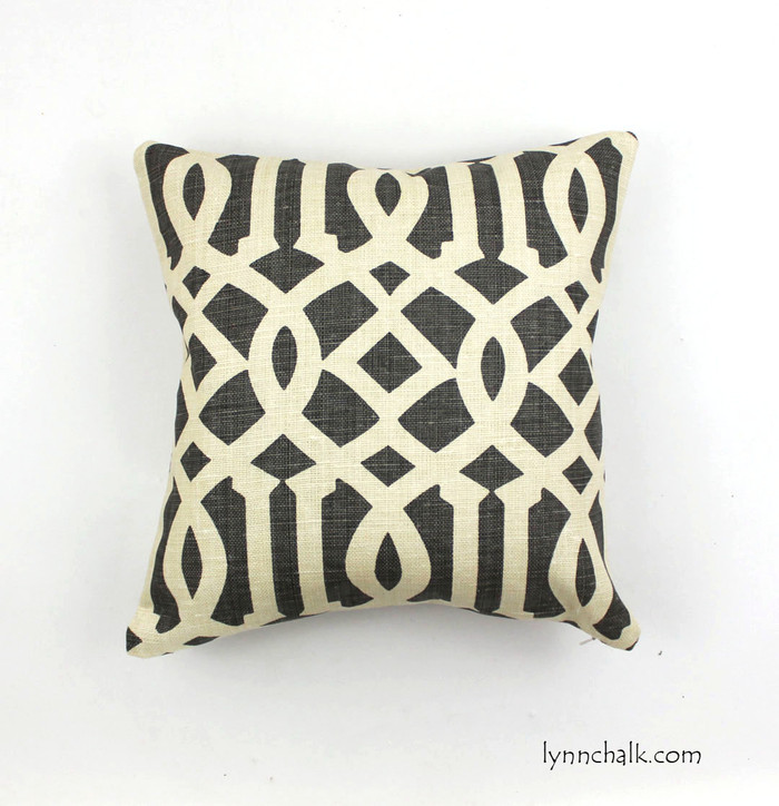 "18"" X 18"" Knife Edge Pillow in Imperial Trellis Midnight  (charcoal grey)"