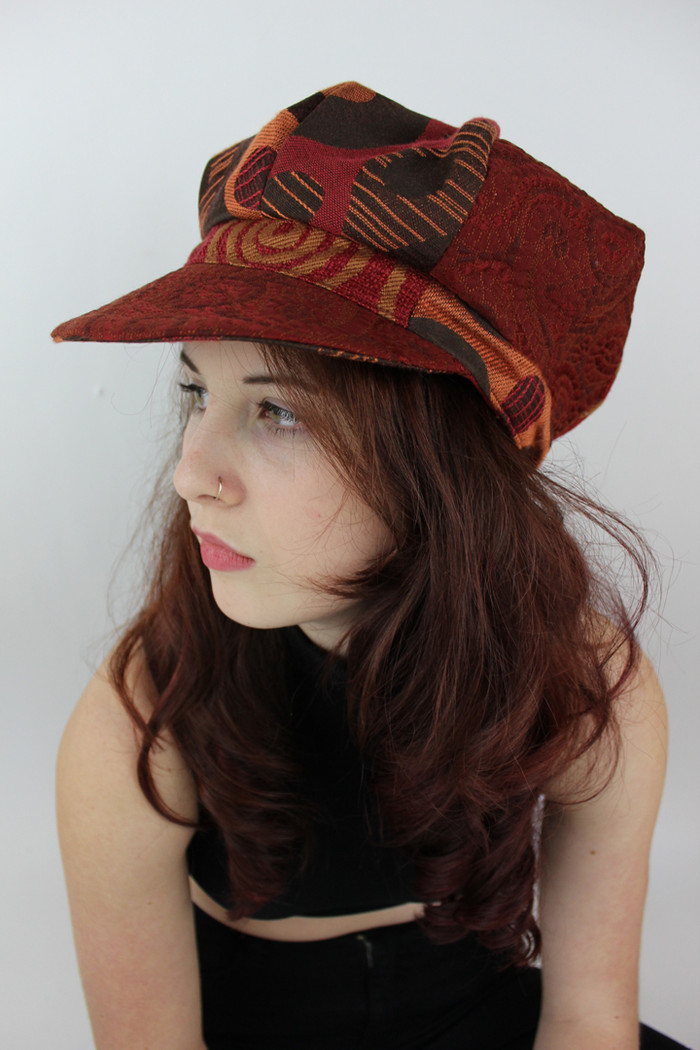 Red and Brown Graphic Pageboy Cap