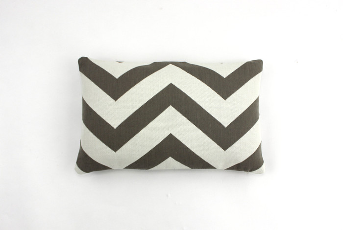 ON SALE Schumacher Antibes Chevron in Driftwood Indoor/Outdoor Pillow (Both Sides-12 X 18) Only 1 Available at this Sale Price