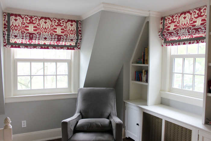 "Quadrille Girls Room with Roman Shades in Island Ikat in Magenta with Samuel and Sons Steel 977-44932  1.5"" Grosgrain Ribbon"