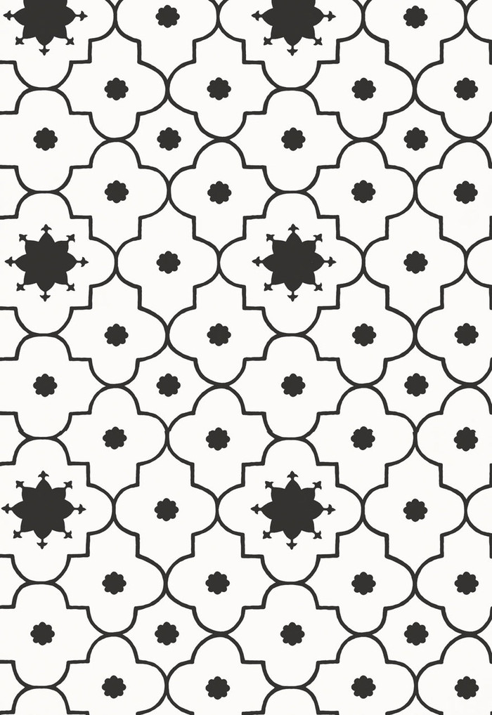 Martyn Lawrence Bullard Wallpaper Taj Trellis in Noir