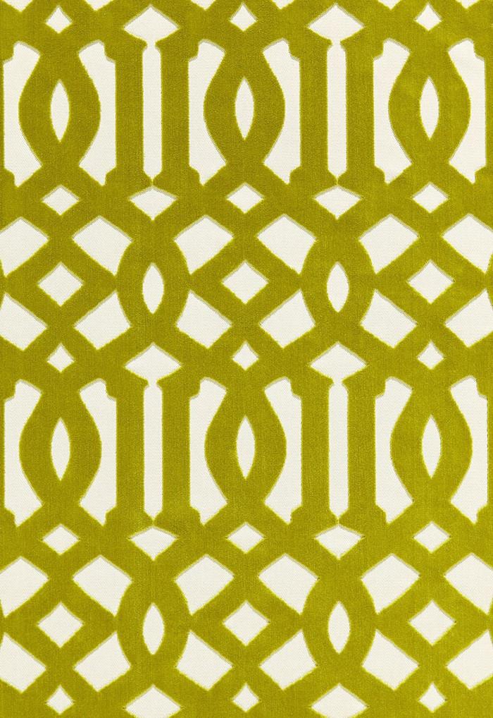 65591 Schumacher Kelly Wearstler Fabric Imperial Trellis Velvet Chartreuse