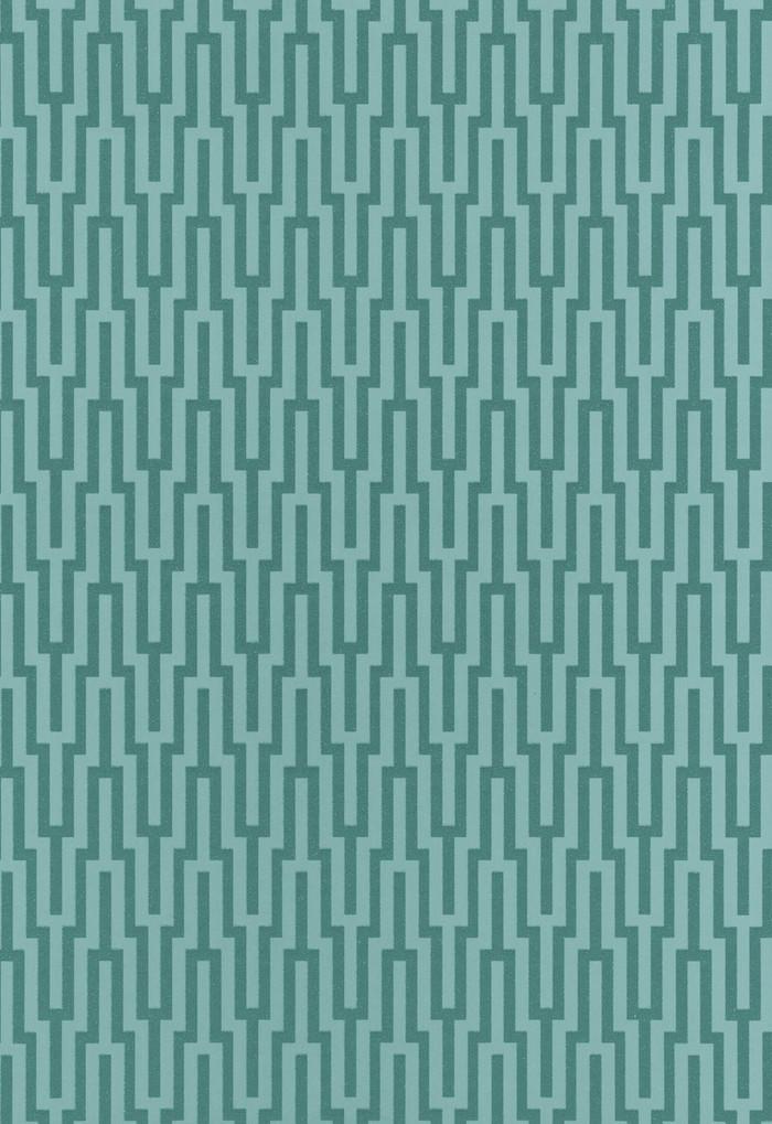 Schumacher Metropolitan Fret Wallpaper Turquoise 5005894