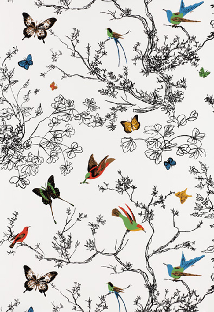 Schumacher Birds and Butterflies Fabric Multi on White 174760