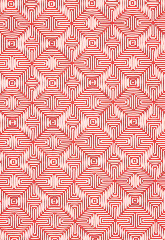 Trina Turk Amazing Maze Indoor/Outdoor in Coral for Schumacher 65324