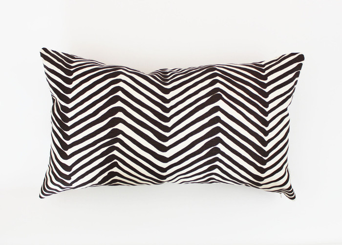 "Quadrille Alan Campbell Zig Zag - Brown 14"" X 24"" Pillow (Both Sides)"