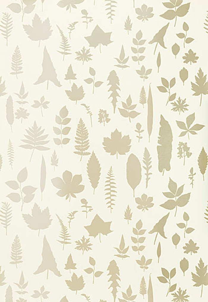Schumacher Modern Nature Collection Leaves Wallpaper in Platinum 5005020(Priced and Sold by the Yard.  Minimum Order 2 Yards)