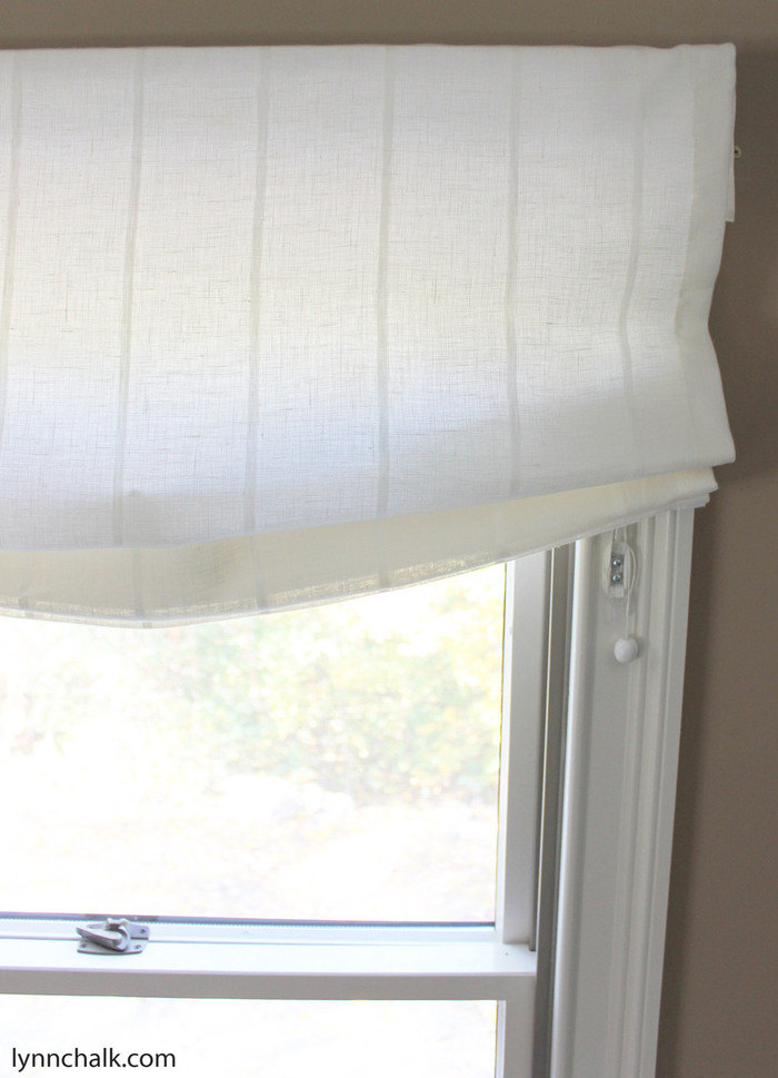 Casual Relaxed Roman Shades by in Kravet 3586-1116 Sheer Linen Stripe