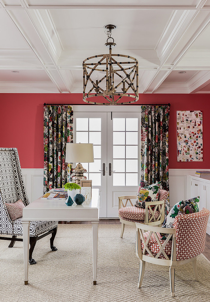 Drapes and Pillows in Chiang Mai Dragon in Alabaster. Chairs in Celerie Kemble Betwixt in Spark. (Katie Rosenfeld Design)