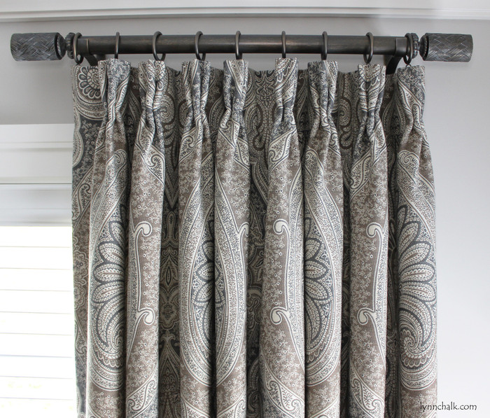 "Custom Pleated Drapes by Lynn Chalk in Schumacher Odalisque in Tabac.  Drapery Hardware is Paris Texas Amulet Finish, 1 3/8"" Diameter Rods with Fairbanks Finials."