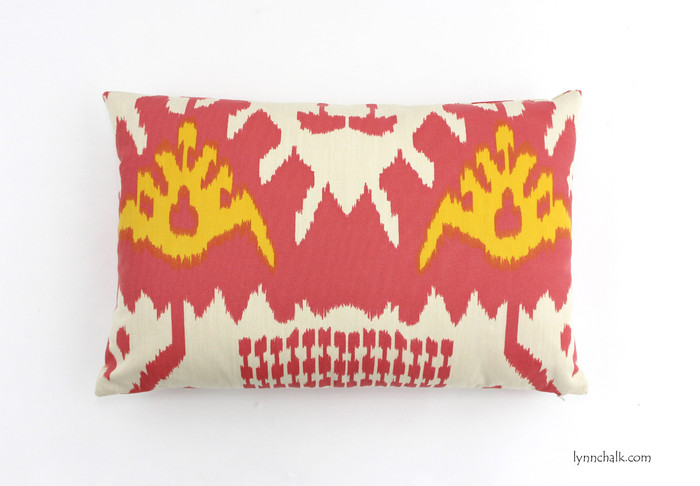 ON SALE Quadrille Kazak Custom Pillow in Coral/New Yellow on Suncloth 14 X 21