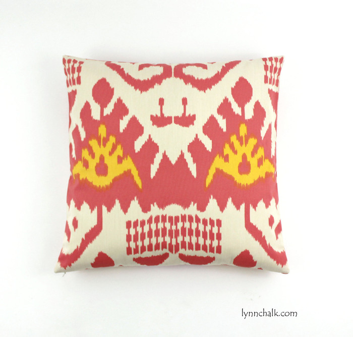 "Pillow in Quadrille Kazak (Shown in Coral and New Yellow 20"" X 20"")"