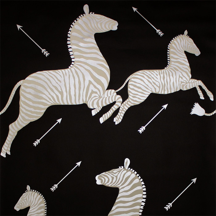 Scalamandre Zebras Wallpaper Black & Silver