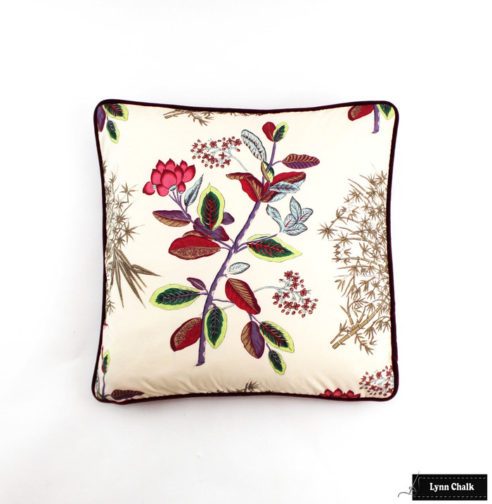 Quadrille Jardins Des Plantes Pillows with Contrasting Welting (20 X 20)