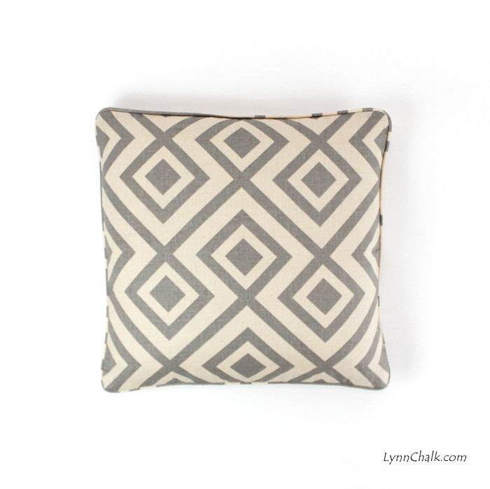 ON SALE David Hicks La Fiorentina Pillow in Tan/Beige 18 X 18 with self welting (only 1 remaining)
