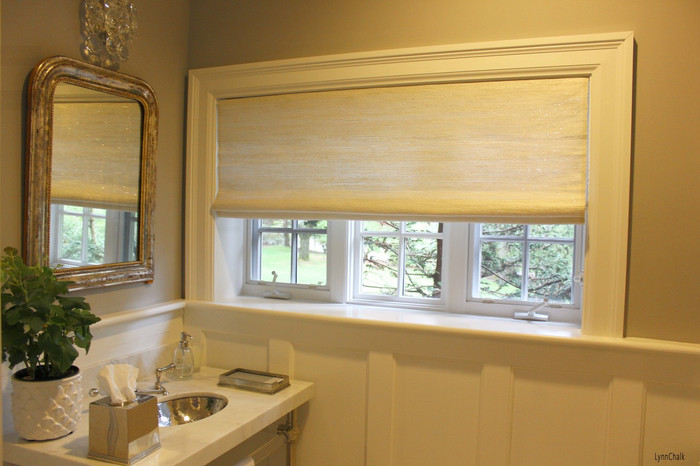 Conrad Woven Starlight Roman Shade in Bathroom
