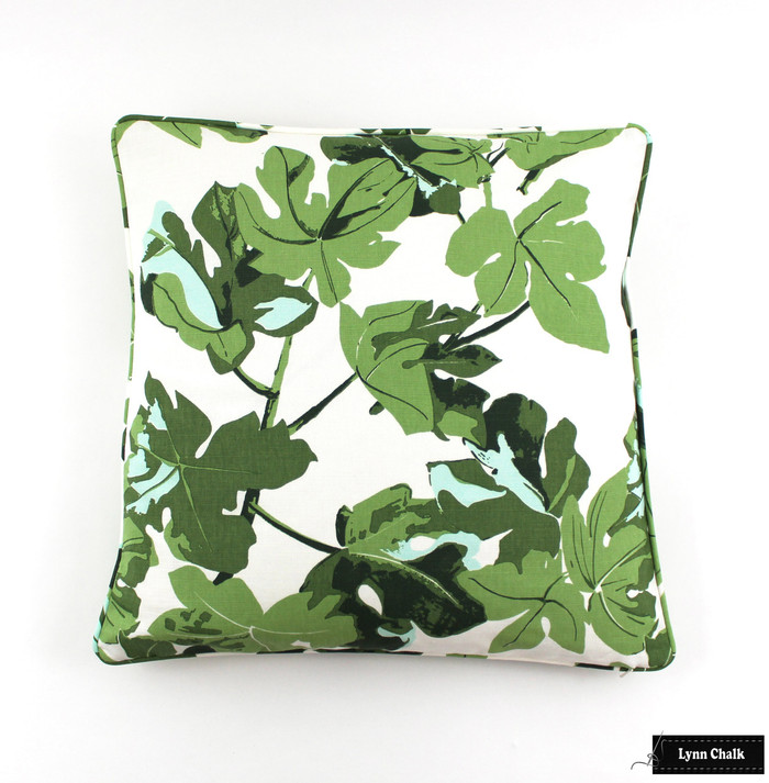 Peter Dunham Fig Leaf Pillow on White with self welting (20 X 20)