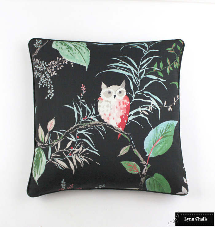 Custom Pillow in Kate Spade Owlish in Black with Black Welting