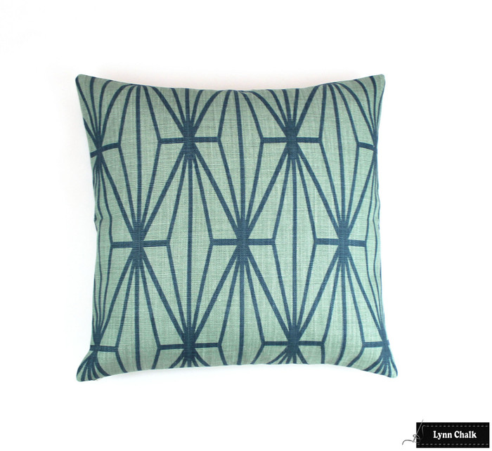 Kelly Wearstler Katana Custom Pillows in Jade/Teal