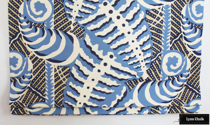 Quadrille Alan Campbell Ferns in Blues Beige on Tint Roman Shades