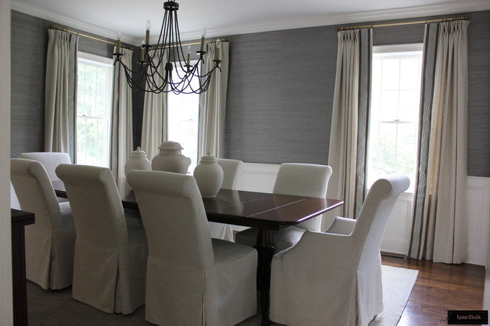 Galbraith & Paul Lotus Wallpaper in Dining Room with Ivory Linen ...