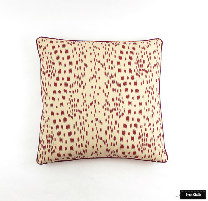 Les Touches Bordeaux with Welting in Robert Allen Lustre Sheen Dahlia (24 X 24 Pillow)