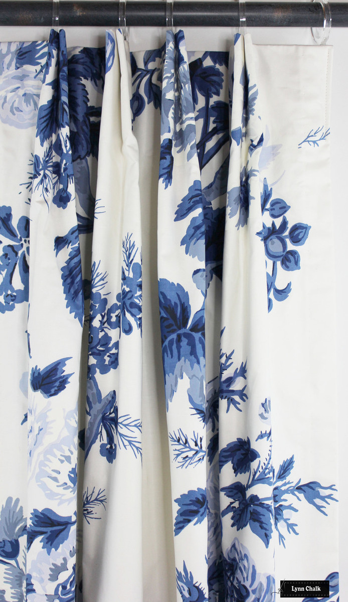 Drapes in Schumacher Pyne Hollyhock Print in Indigo