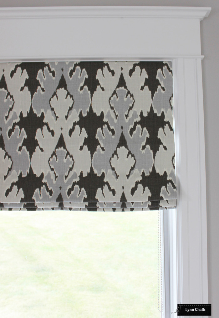 Kelly Wearstler Bengal Bazaar Custom Roman Shades (shown in Graphite-comes in other colors)