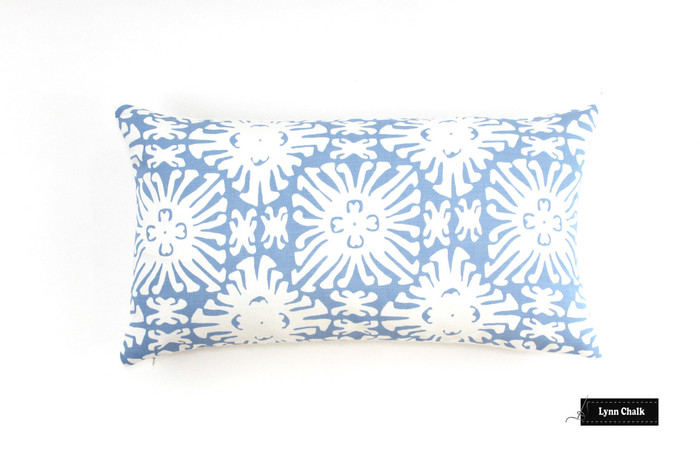 ON SALE Quadrille China Seas Sigourney Small Scale Pillow  in French Blue on White (14 X 24) Only 1 remaining at this sale price