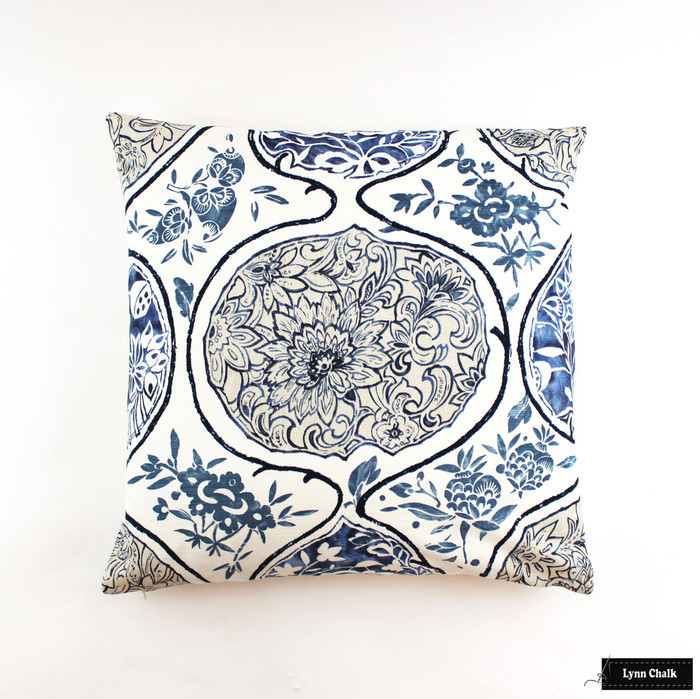 ON SALE Schumacher Katsugi Blues Knife Edge Pillows (24 X 24) Only 2 Remaining at this Sale Price