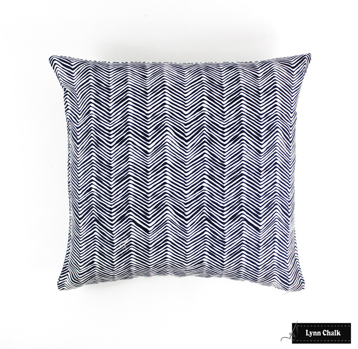 "ON SALE Quadrille Alan Campbell Petite Zig Zag Pillow in New Navy on White (Both Sides-22"" X 22"") There are only 2 Remaining at this Sale Price"