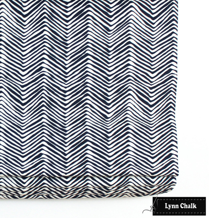 Roman Shade in Petite Zig Zag New Navy on White