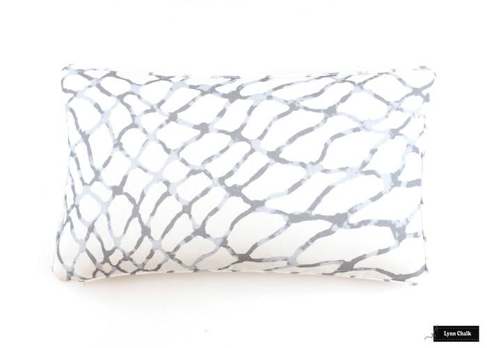 Pillow in Jeffrey Marks Waterpolo in Cloud (14 X 24)