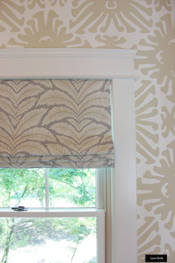 Brunschwig & Fils Talavera Linen in Birch Roman Shades with Quadrille Sigourney Wallpaper